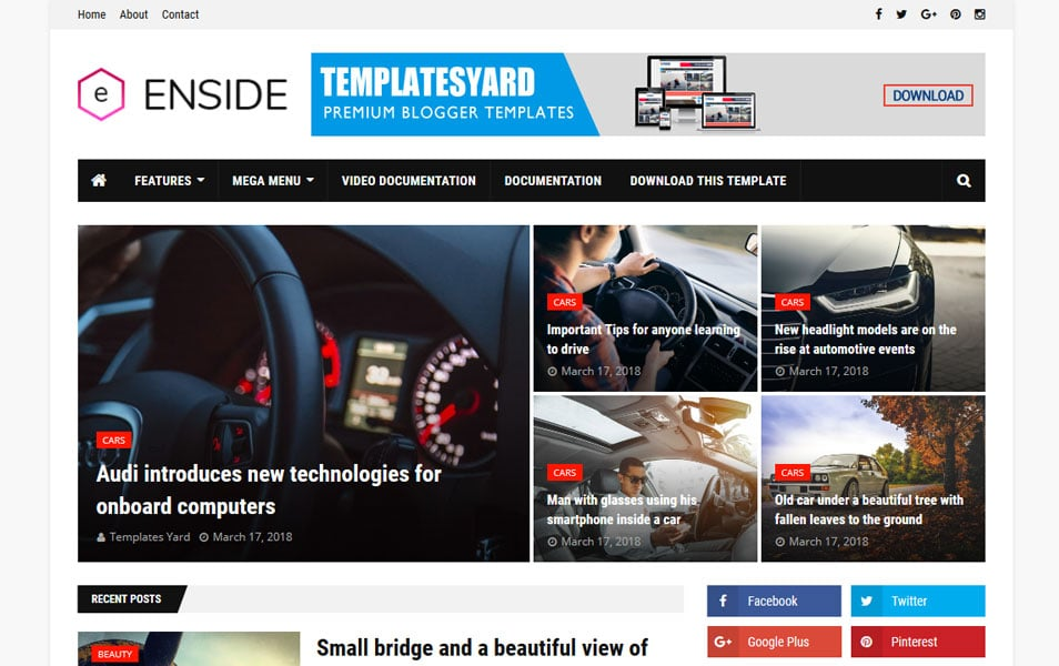 Enside Responsive Blogger Template 1