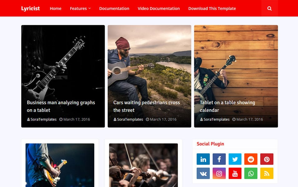 Lyricist Responsive Blogger Template 1