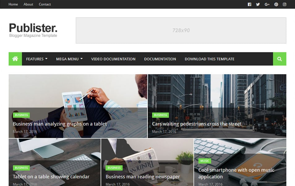 Publister Responsive Blogger Template 2