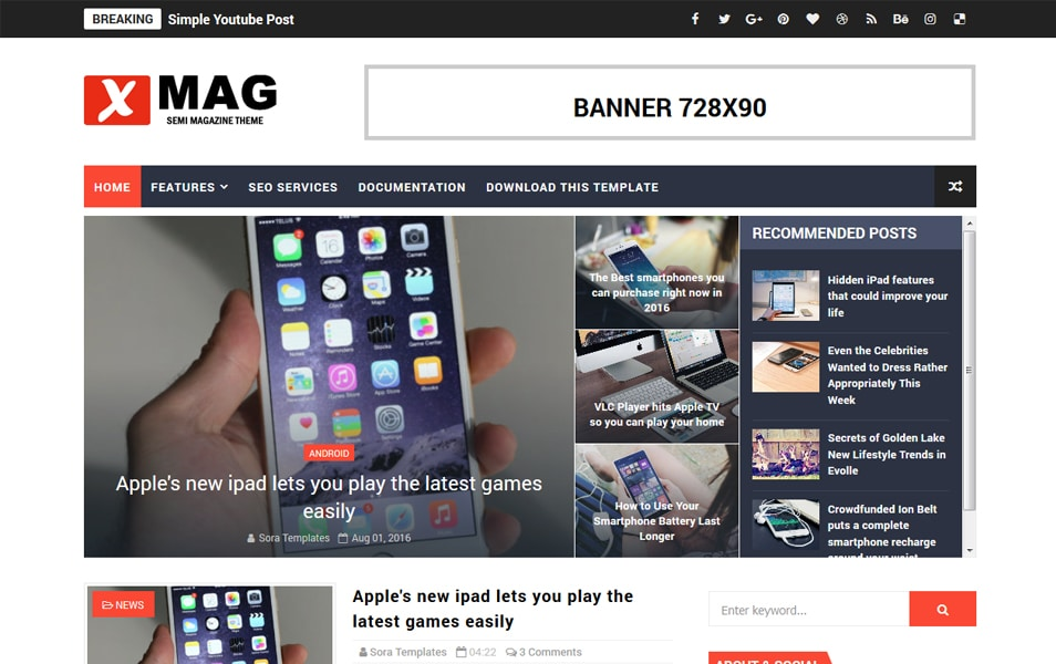 X Mag Responsive Blogger Template 2